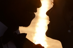 Sunset image of the Bride and Groom