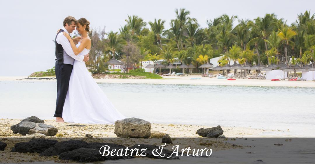 Beatriz et Arturo images de mariage, célébré à l'Hotel Résidence, Île Maurice.