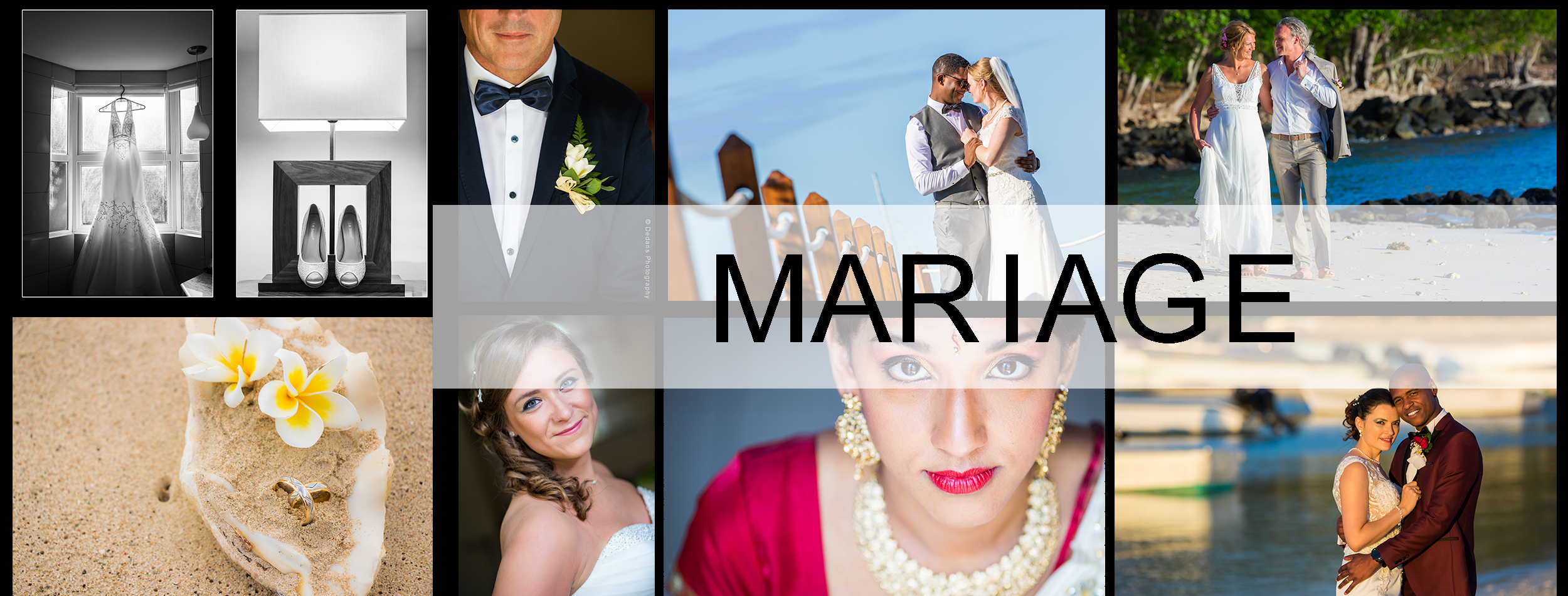 Collage de photos de mariage prisent par Dedans Photography.