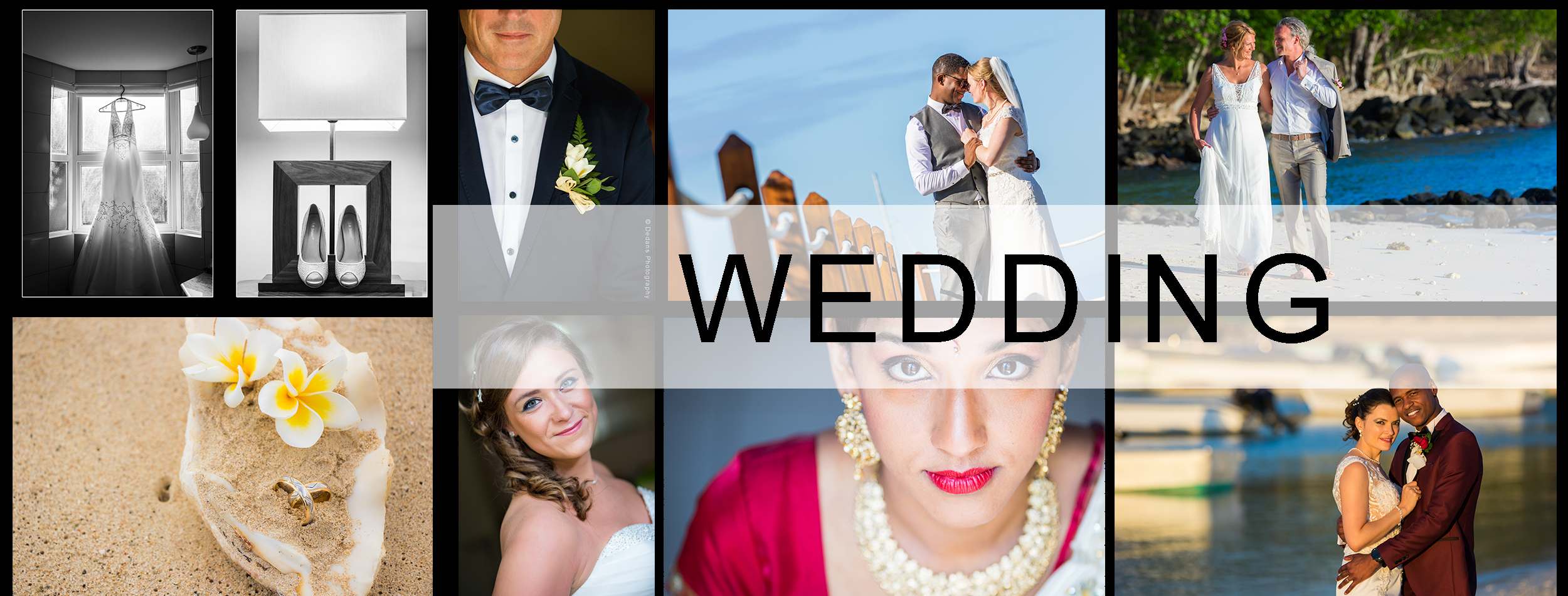 Collage of wedding photos captured by Dedans Photography.